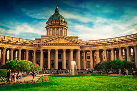 Kazan cathedral in Saint Petersburg, Russia. Famous touristic place. Stock Photo