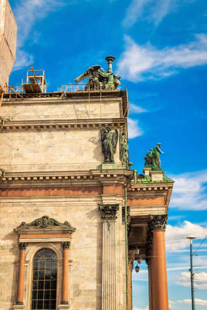 isaac: Statues decorating Isaac cathedral in Saint Petersburg, Russia. Stock Photo