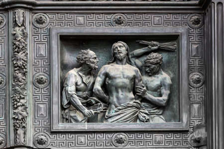 isaac: Bas-relief on the door of Isaac cathedral in Saint Petersburg, Russia.