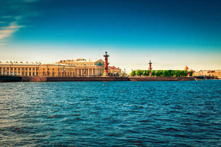 neva: Panoramic view of Vasilievsky island circumfluous by Neva river in Saint Petersburg, Russia.