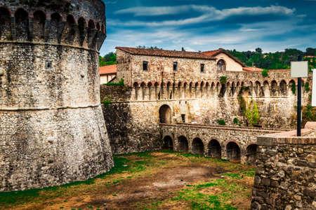 Ancient fortification of Fortezza di Sarzanello castle in Sarzana, Liguria region, Italy.