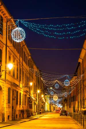 reggio emilia: Beautiful night street in Reggio Emilia, Emilia-Romagna, Italy.