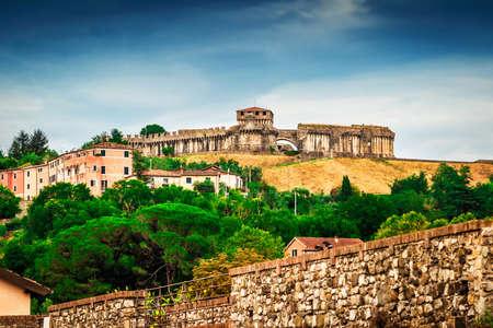 View of the castle - Fortezza di Sarzanello in Sarzana, Liguria region, Italy.