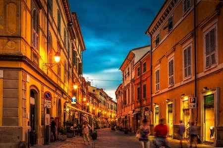 Old night street in Sarzana, Liguria, Italy. Stock Photo