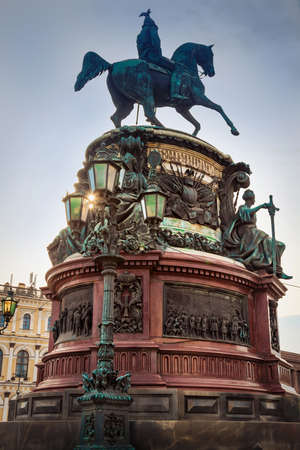The Monument to Nicholas I on St Isaacs Square in Saint Petersburg, Russia.