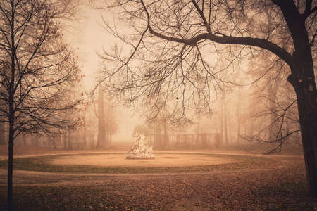 ducale: Autumn mist in old Ducale park in Parma, Emilia-Romagna region, Italy.