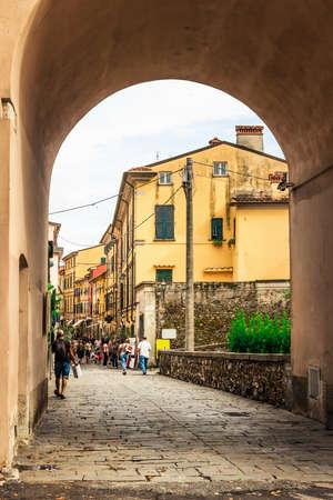 Old streets in Sarzana, Liguria, Italy.