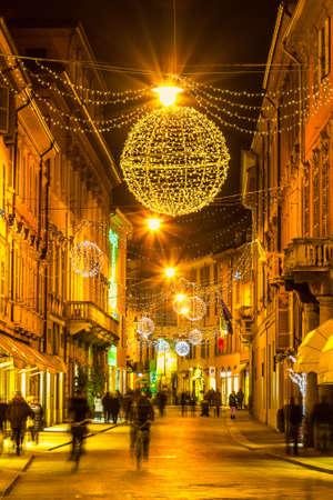 reggio emilia: Old night street in Reggio Emilia, Emilia-Romagna, Italy. Stock Photo