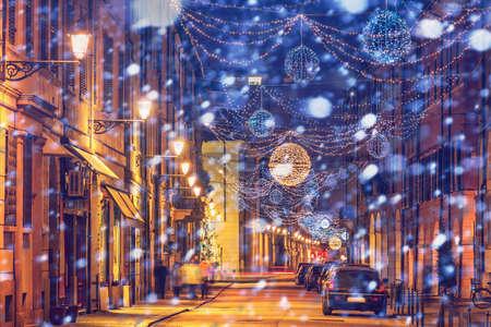 reggio emilia: Festive winter old night street in Reggio Emilia, Emilia-Romagna, Italy.