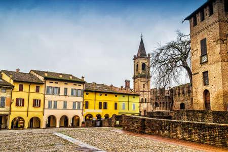 View of old town of Fontanellato and medieval Rocca Sanvitale castle, Emilia-Romagna, Italy.