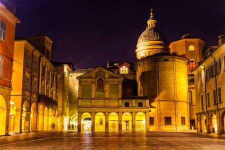 reggio emilia: Beautiful night view of Piazza San Prospero in Reggio Emilia, Emilia-Romagna, Italy. Stock Photo