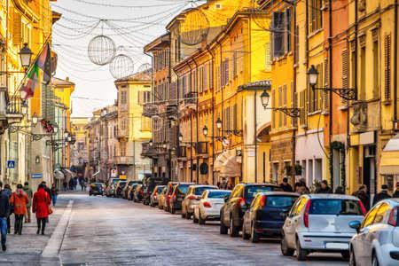 reggio emilia: Old street with colorful buildings in Reggio Emilia, Emilia-Romagna, Italy.