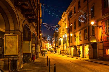 reggio emilia: Scenic old night street in Reggio Emilia, Emilia-Romagna, Italy.