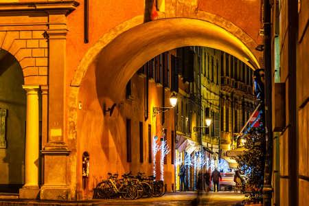 reggio emilia: Night old street in Reggio Emilia, Italy.
