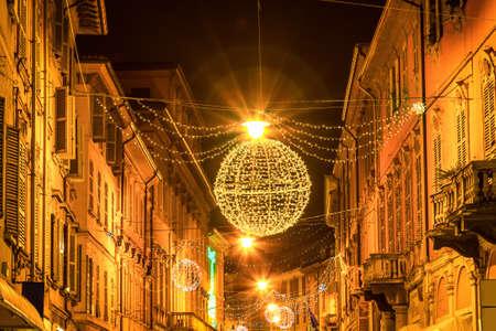 reggio emilia: Night street in Reggio Emilia, Emilia-Romagna, Italy.