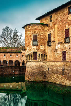 Stronghold of medieval Rocca Sanvitale castle with fosse in Fontanellato, Emilia-Romagna, Italy. Editorial