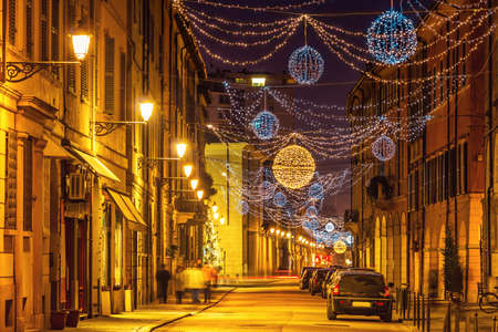 reggio emilia: Festive old night street in Reggio Emilia, Emilia-Romagna, Italy.