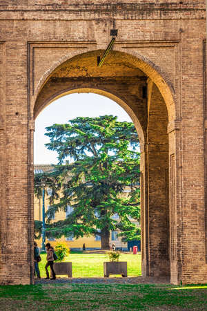 View through the arch of Pilotta palace in Parma, Emilia-Romagna, Italy. Editorial