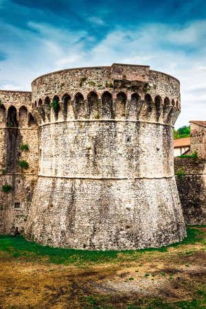 Tower of the castle - Fortezza di Sarzanello in Sarzana, Liguria region, Italy. Editorial