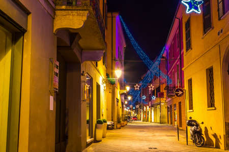 reggio emilia: Old lane decorated for Christmas holidays in Reggio Emilia, Emilia-Romagna, Italy.