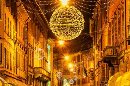 reggio emilia: Night street on holidays in Reggio Emilia, Emilia-Romagna, Italy. Stock Photo