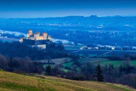 Night landscape with Torrechiara castle in Emilia-Romagna region, Italy. Editorial