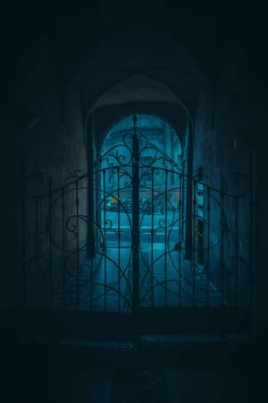 glum: Old beautiful gates in the archway in the night. Stock Photo