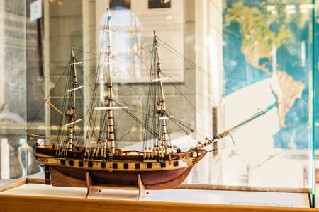 SAINT PETERSBURG, RUSSIA - MAY 28, 2015: Ship model Zoological Museum of the Zoological Institute of the Russian Academy of Sciences in St. Petersburg, Russia. Editorial
