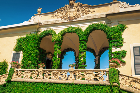 classy house: VILLA BALBIANELLO, ITALY - AUGUST 02, 2015: Loggia di Balbianello at villa Balbianello, Como lake, Italy. Editorial