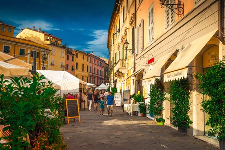 SARZANA, ITALY - AUGUST 10, 2015: Streets in Sarzana, Liguria, Italy. Editorial