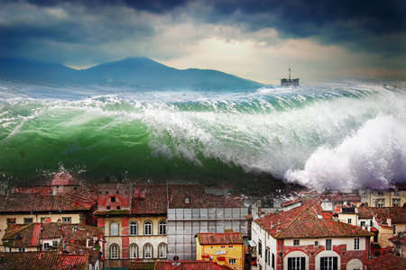 Giant wave crashing above the city. Global flood. Stock Photo