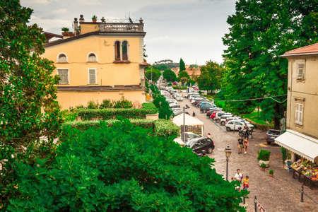 Old street in Sarzana, Italy. Stock Photo