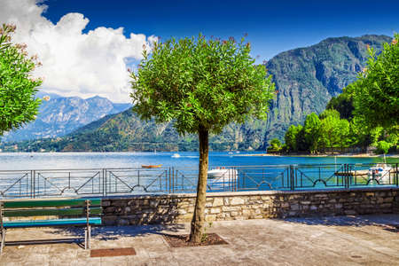 View of beautiful peaceful Como lake and the Alps, Italy.