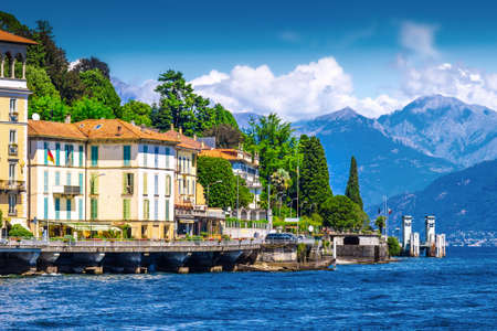 View of many villas and houses at the shore of Como lake, Italy. Stock Photo