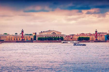 Panoramic view of Vasilievsky island and Neva river in Saint Petersburg, Russia.