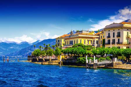 View of old Italian town at the coast of the lake, Bellagio, Como lake, Italy. Stock Photo