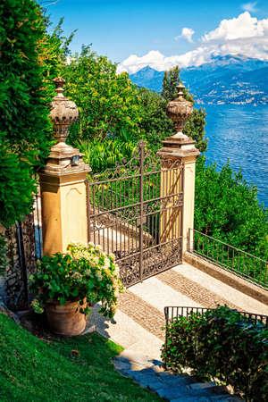 Old gates at Villa Balbianello, Como lake, Italy. Stock Photo
