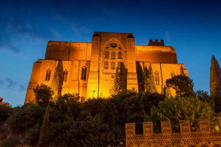 Basilica of San Domenico (Basilica Cateriniana) in the night in Siena, Tuscany, Italy.