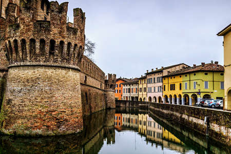 View of the moat around medieval castle of Fontanellato, Emilia Romagna, Italy. Stock Photo