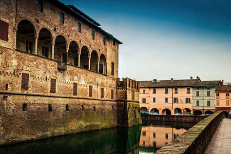 View of the moat around medieval castle of Fontanellato, Emilia-Romagna, Italy.