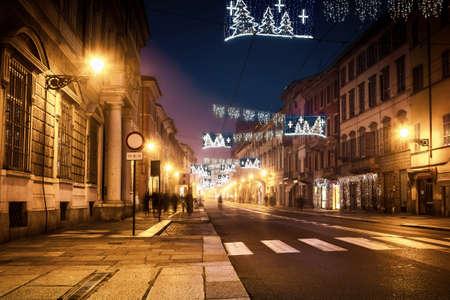Night avenue street in Parma, Emilia-Romagna, Italy. Stock Photo