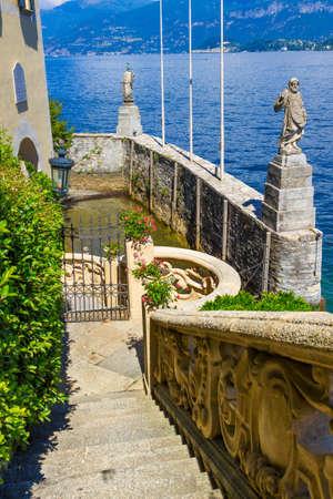 Stairs at villa Balbianello, Como lake, Italy. Stock Photo