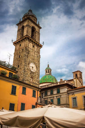 Old tower on the square in Pontremoli village, Liguria, Italy. Stock Photo