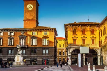 View of Piazza del Duomo in Reggio Emilia, Emilia-Romagna, Italy.