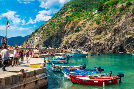 Embankment on Vernazza village, beautiful place in Cinque Terre, Italy.
