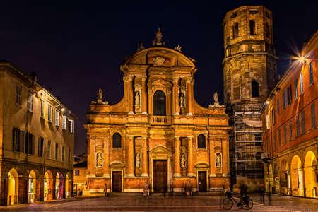 Beautiful night view of Piazza San Prospero and Basilica in Reggio Emilia, Emilia-Romagna, Italy. Stock Photo