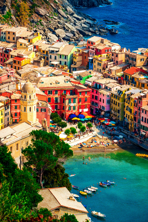 Colorful houses in Vernazza, Cinque Terre, Italy.