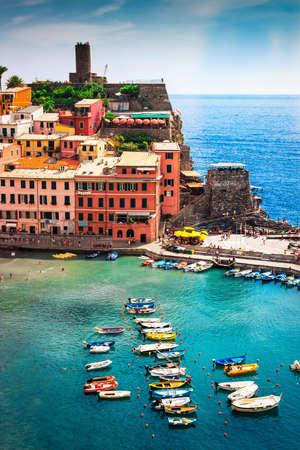 View of Vernazza village, Cinque Terre, Liguria, Italy Stock Photo
