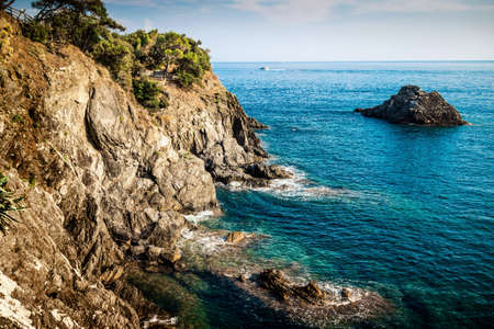 Rocky coast and the sea, Cinque Terre, Italy. Stock Photo