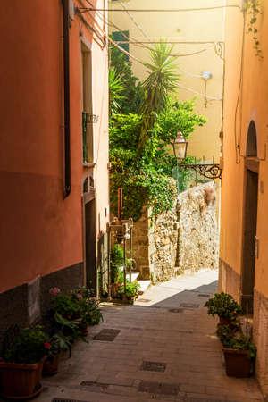 Narrow old street in Riomaggiore, Cinque Terre, Italy.